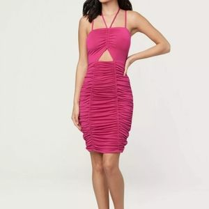Bebe Dress Sadie Shirred Ruch stretch stra…